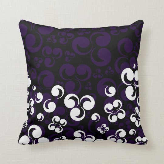 Purple White black Retro Influenced Throw Pillow
