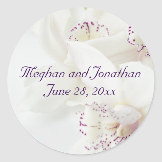 Purple White Bride Groom Names Wedding Stickers