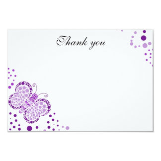 Purple & White Butterfly Flat Thank You Note Card