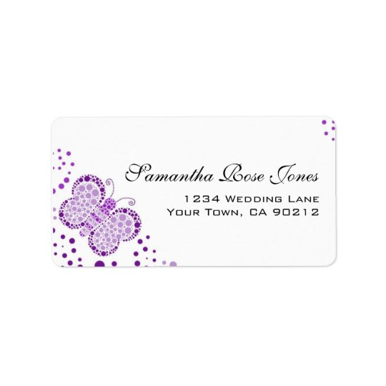 Purple White Butterfly Pointillism Custom Address Label