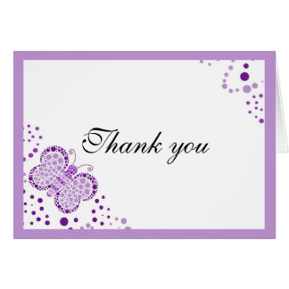 Purple & White Butterfly Thank You Note Card