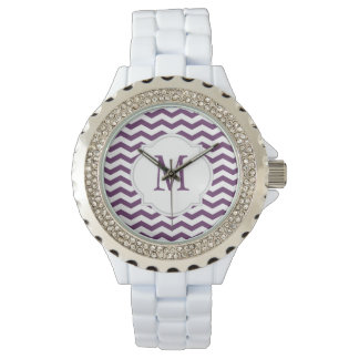 Purple & White Chevron Pattern Watch