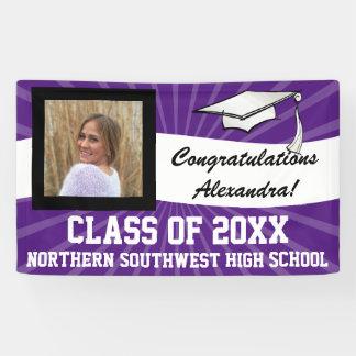 Purple White Custom Photo Graduation Sign
