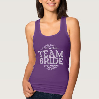 Purple & White Cute Team Bride Wedding Party Gift Tank Top