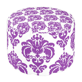 Purple & White Damask Pattern Modern Elegant Chic Pouf