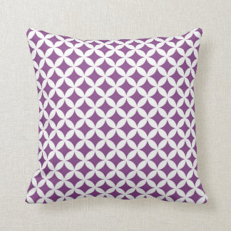 Purple White Diamonds Circles Pattern Pillow