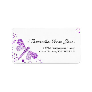 Purple White Dragonfly Pointillism Custom Address Label
