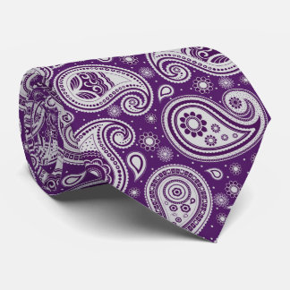 Purple white elegant vintage paisley pattern tie
