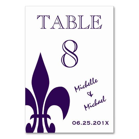 Purple White Fleur de Lis Event Table Marker Card