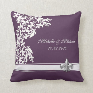 Purple White Fleur de Lis Keepsake Pillow