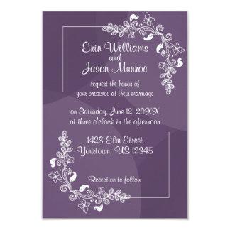 Purple White Floral Wedding Invitation