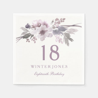 Purple White Flower Floral 18th Birthday Party Disposable Napkin