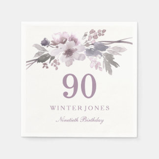 Purple White Flower Floral 90th Birthday Party Disposable Napkins