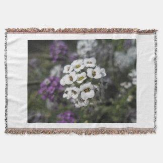 Purple & White Flowers Fleecy Blanket Throw