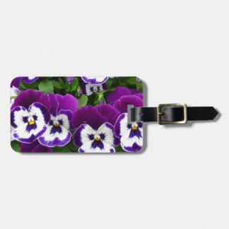 Purple & white flowers luggage tag