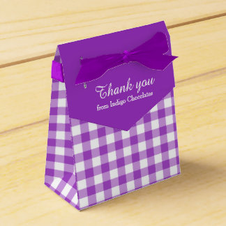 Purple white gingham pattern thank you gift box party favor box