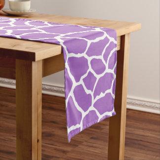 Purple White Giraffe Skin Pattern Short Table Runner