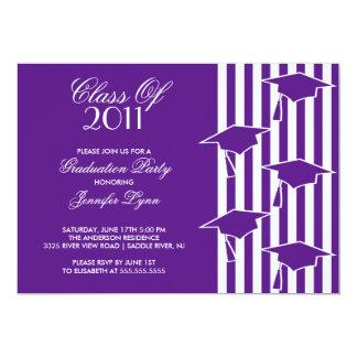Purple & White Grad Hats Graduation Invitation