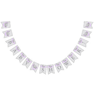 Purple, White Gray Elephant Baby Shower Bunting Flags