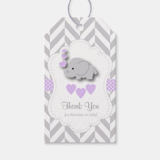 Purple, White Gray Elephant Baby Shower Thank You Gift Tags
