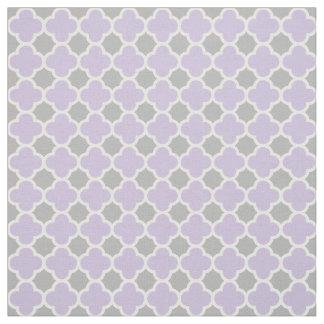 Purple White Gray Quatrefoil Pattern Fabric