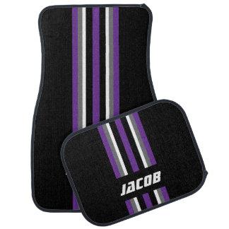Purple, White, Gray Race Stripes on Black Car Liners