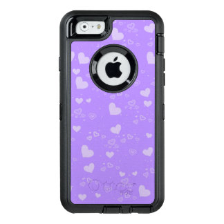 Purple White Hearts OtterBox Defender iPhone Case