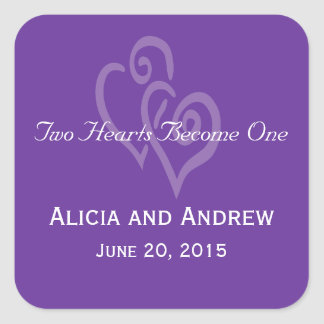 Purple White Hearts Wedding Favor Stickers