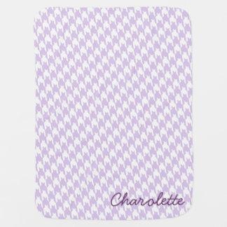 Purple & White Houndstooth Monogram Baby Blanket