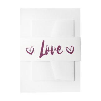 Purple & White Love Hearts Wedding Invitation Belly Band