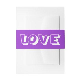 Purple & White Love Wedding Invitation Belly Band