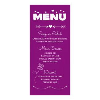 Purple & White Menu Hearts & Butterfly Wedding