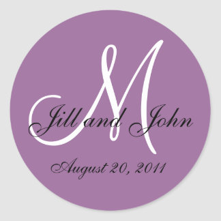 Purple White Monogram Wedding Envelope Seals