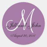 Purple White Monogram Wedding Envelope Seals Round Sticker