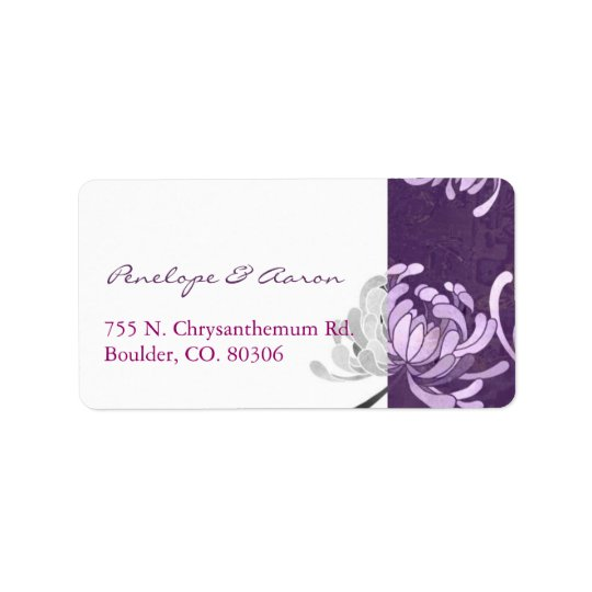 Purple + White Monotone Wedding Address Labels