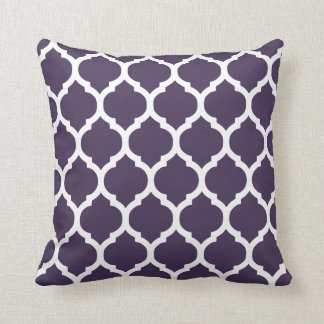 Purple & White Moroccan Lattice Throw Pillow