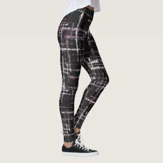 Purple white on black spattered airbrushed squares leggings