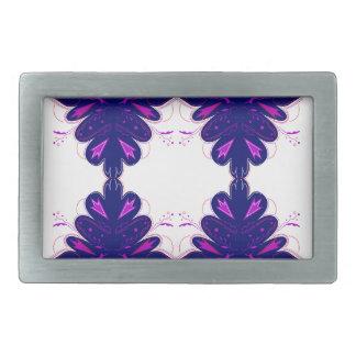 Purple white Ornaments Rectangular Belt Buckles