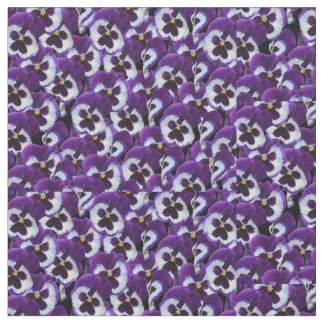 Purple White Pansies, Combed Cotton Material Fabric