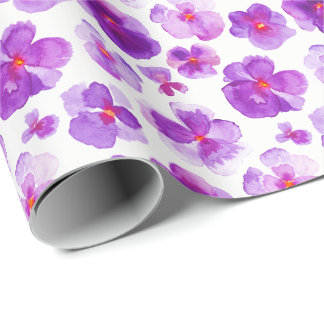 Purple white pansies floral watercolor art wrap wrapping paper