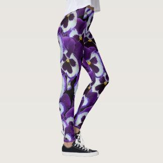 Purple White Pansy Bouquet, Ladies Leggings