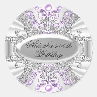 Purple & White Pearl Damask Birthday Sticker