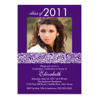 Purple & White Photo Graduation Invitation