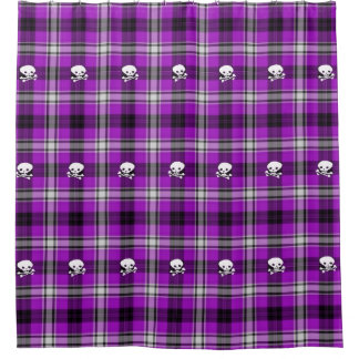 Purple white  plaid skull hip cool  shower curtain