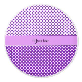 Purple & White Polka Dots Ceramic Knob