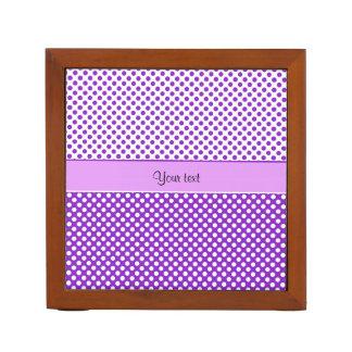 Purple & White Polka Dots Desk Organizer