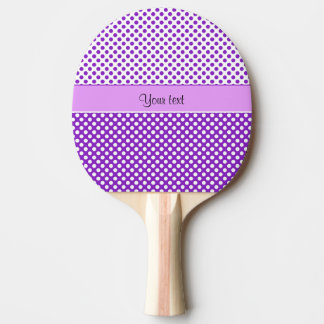 Purple & White Polka Dots Ping Pong Paddle