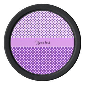 Purple & White Polka Dots Poker Chips