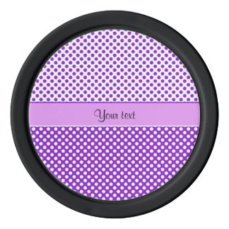 Purple & White Polka Dots Poker Chips Set