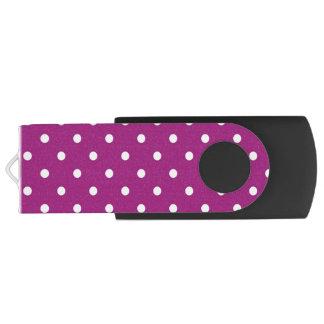 Purple & White Polka Dots, USB Storage Flash Drive